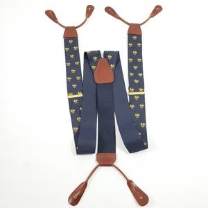 Brooks Brothers Tab Suspenders Mens Navy Blue Gold